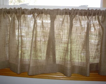 Lovely Burlap Curtains, Burlap Cafe Curtains, Burlap Kitchen Curtains, All Natural  Burlap Curatins,