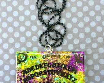 Glitter Ouija Board Pendant / Halloween Ouija Necklace / Ouija Board Jewelry / Occult Fashion Jewelry / Horror Necklace / Gothic Halloween