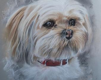 Dog portrait, Custom Hand drawn portrait, Pastel portrait, Pastel painting, Commisioned portrait