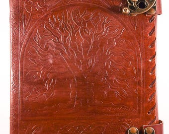 Tree of Life leather journal with handmade paper.