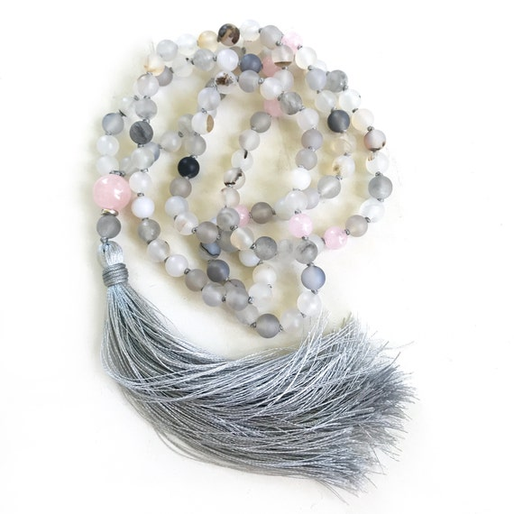 Mala Beads For Inner Peace, Wind Shadow Agate Mala, Rose Quartz Mala, 108 Bead Mala, Hand Knotted, Mantra Mala, Meditation Beads