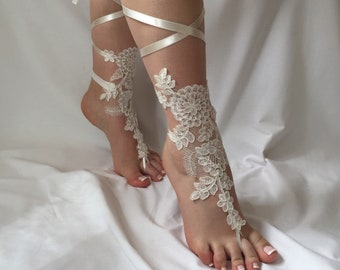Bridal Barefoot Sandals, Lace Barefoot Sandals, Bridal Shower, Wedding Shoes, Glowing Jewelry, Bridal Footless Sandals, Wedding Photo Props