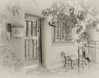 "Southwest Art Prints - Set of 4 - dreamy vintage sepia - 3/ 8x12"" prints and 1/ 5x7"" print - Adobe architecture, church, iron work"
