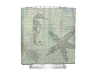 Beach Decor, Seahorse, Shower Curtain, Sea Bathroom Decor, Nautical Bathroom, Starfish, Shell Shower Curtain, Blue Bathroom Decor, Sea Horse