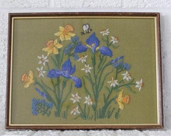 vintage crewel - blue flowers + bee