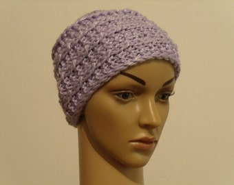 Light purple knitted Cap with shine