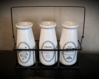 Decorative bottles, shabby chic, French farmhouse, enameled look