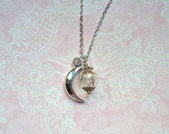 Necklace with flower silver-colored Moon glass