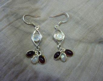 Earrings diamond moonstone and Gothic Celtic medieval elvish garnet moonstone