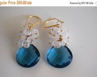 Mothersdaysale London blue quartz and moonstone dangle earrings