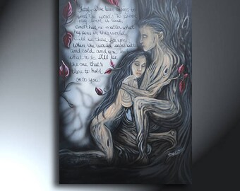 Couple Painting Man and Woman Art Original Tree People Painting On Canvas Size 24 X 36 Love Poem