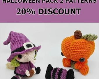 Amigurumi Pattern / Halloween Pattern Pack / Crochet Pattern / Crochet Pumpkin / Crochet Witch / Halloween Pumpkin / Halloween Witch