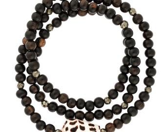 Hebrew Shell Bracelet, Cone Shell Bracelet, Hawaii Jewelry, Sea Shell Jewelry, Wrap bracelet, Brown Wood Bracelet, Gift, Pyrite Bracelet