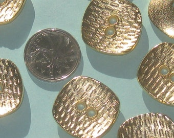 Large FANCY and SQUARE Vintage New Glossy Gold METAL buttons Set 9