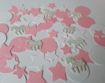 200 pink and white circles and stars with silver glitter unicorns.  Great as table confetti for birthdays, baby showers, crafts