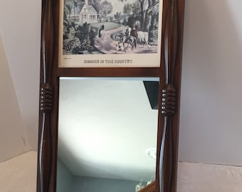 Mirror with Picture ~ Currier and Ives ~ Summer in the Country ~ Victorian ~ Antique Vintage