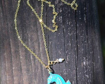 Green Seahorse Necklace With Tiny Pearl Glass Beads and Gold Chain