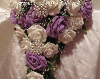 Wedding Flowers Wedding Bouquet Brides Bouquet Lilac and Ivory or Lilac and White Roses Teardrop 21 inch Bridesmaids Posies Flower Girl