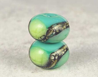 Handmade Green Glass Lampwork Bead Pair, Lampwork Glass, Glass Beads, Organic Web, 2 Glossy 11x7mm Little Sirona