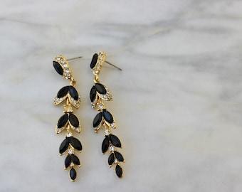 Vintage 1990s Black Rhinestone Drop Duster Earrings Pierced