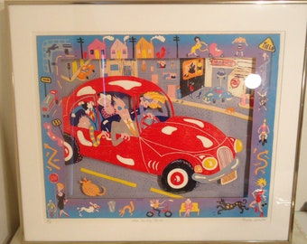 1984 Phoebe Cole The Sunday Morning Drive Volkswagen VW Vanity Linocut Art Print