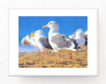Seagull Print - Seagull Art, Digital Download, Seagull Poster, Beach Decor, Seagull Artwork, Printable Art, Beach Art Print, Beach Artwork