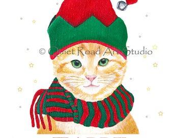 Christmas card, Cat Elf card, Blank Greeting Card, cat Christmas card, Happy Holidays Greeting Card, Original art Christmas Card, cat card