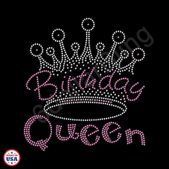 Rhinestone Iron On Transfer Birthday Queen Crystal