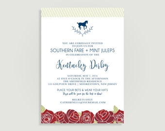 Kentucky Derby Invitation - Run for the Roses - Personalized Printable File or Print Package Available - #00160-PIA7