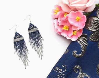 Fringe Earring, Ombre Boho Earring, Handmade Jewelry