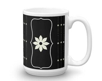 Black and White Floral Mug - Black Floral Mug - White Floral Mug - Simple Design Mug - Black Coffee Mug - White and Black Mug - Floral Tea
