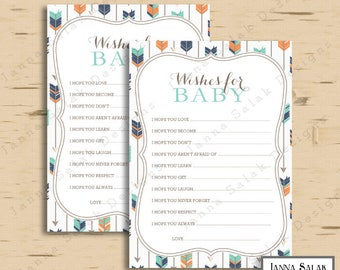 Tribal Baby Shower Game Wishes For Baby Activity Arrows Feathers Boy Navy Orange Green DIY INSTANT DOWNLOAD Pdf TR003