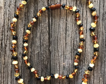 Mommy & Me Baltic Amber Necklace/ Teething Necklace - Polished MIXED color