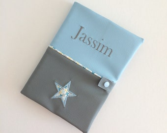 Protects health record/nightblue/gray star / personalized /broderie /naissance /garcon/gift. French manufacturing
