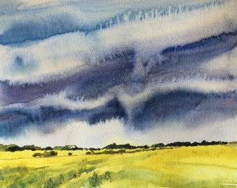 Landscape painting, watercolor landscape, wheat field, Sky painting, storm clouds, Sky watercolor, rural, countryside, landscape, painting