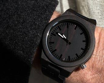 Mens Wood Watch, clock, watch, Ebony Black Wooden mens watch, leather band Wristwatch, Boyfriend Gift, Anniversary Gift, Christmas Gift
