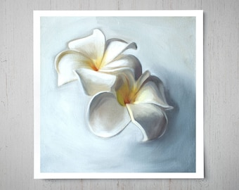 Plumeria Blossoms - Fine Art Oil Painting Archival Giclee Print Decor by Artist Lauren Pretorius