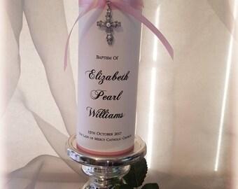 Personalised Christening Baptism Naming Day Candle
