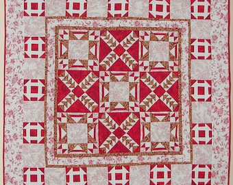 Lap Quilt Handmade Vintage look Patchwork 100% Cotton In Red and White fabrics