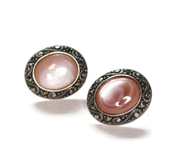 Pink Mother of Pearl Shell Earrings Marcasite Sterling Posts Vintage