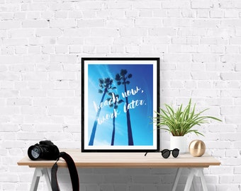 16 x 24 Beach Palm Trees Poster Print