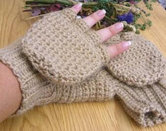 Alpaca Convertible Mittens - Beige Convertible Mittens - Wool Convertible Mittens - Alpaca Glittens - Wool Glittens - Alpaca Mitts - Oatmeal