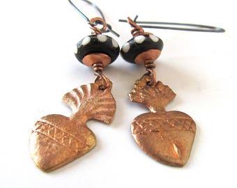 Unusual sacred heart earrings, milagro earrings