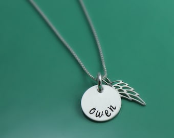 Miscarriage Gift, Loss of Child Gift, Infant Loss Gift, Angel Wing Necklace, Name and Angel Wing Necklace, Personalized Stillborn Gift