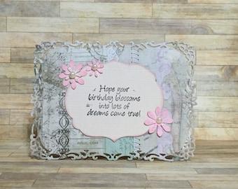 Birthday card, handmade card, greeting card, all occasion card, flowers