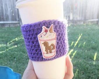 Unicorn coffee cozy, coffee cozy, cozy, coffee crochet sleeve