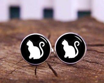 Cat Cuff Links, Cat Cufflinks, Kitten Cufflinks, Wedding Cufflinks, Custom Any Text or Photo Cufflinks, Personalized Gifts, Groom Cufflinks