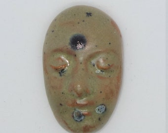 Handmade Ceramic Clay Face Art Doll OOAK Cabochon Earthenware  jewellery beading component green brown marbled crystal glaze