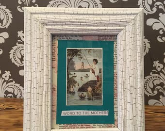 Framed Decoupage Mother and Babies