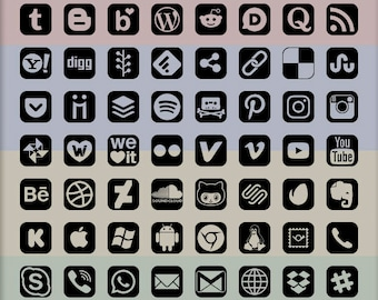 Social Media Icons, 72 logo designs, alpha transparency on black, rounded icon outline shape, vector & bitmap images
